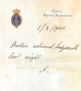 A letter addressed to Rev R.B. Egan from Alfred, Duke of Saxe-Coburg and Gotha, 1 Mar 1900