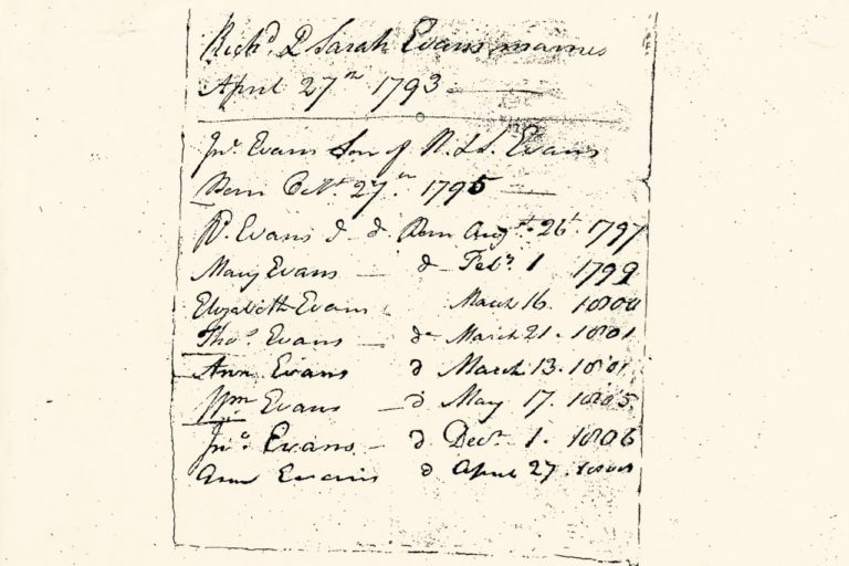 Children of Richard and Sarah Evans married 27 Apr 1793, The Evans Family bible