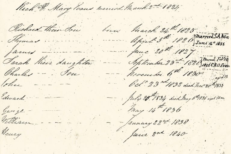 Children of Richard and Mary Evans married 2 Mar 1824, The Evans Family bible