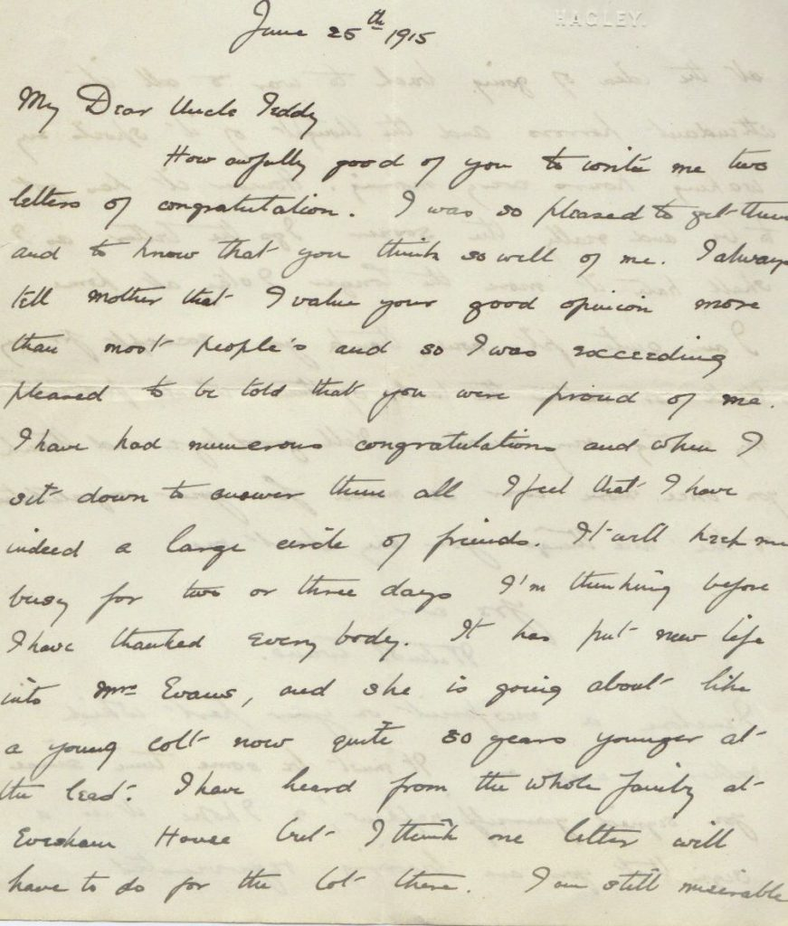 Wilmot Evans to Uncle Teddy letter, 25 Jun 1915,  p. 1