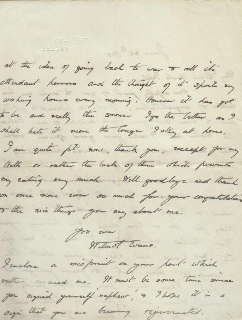 Wilmot Evans to Uncle Teddy letter, 25 Jun 1915, p. 2