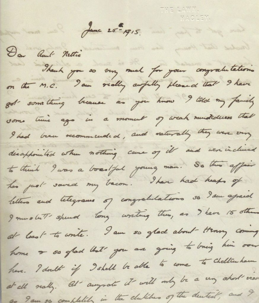 Wilmot Evans to Aunt Netty letter, 25 Jun 1915, p. 1