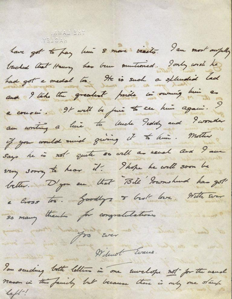 Wilmot Evans to Aunt Netty letter, 25 Jun 1915, p. 2