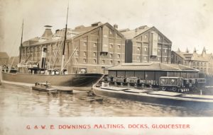 G. & W.E. Downing's Maltings, Docks, Gloucester, c. 1901. Malthouses No 3 and 4 ('new') were built between Merchants Rd and Bakers Quay in 1901, a building on the right is Malthouse No 1 ('old') now demolished