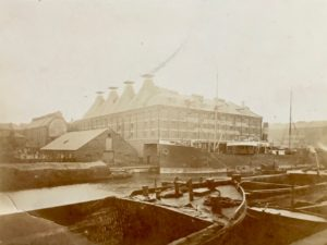 G. & W.E. Downing's Maltings, Docks, Gloucester, c. 1901. North and west sides of the 'new' malthouses