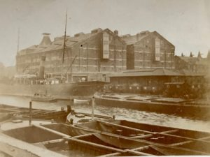G. & W.E. Downing's Maltings, Docks, Gloucester, c. 1901. South and west sides of the 'new' malthouses