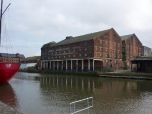 G. & W.E. Downing's Maltings, Docks, Gloucester, Feb 2017. A view across the quay