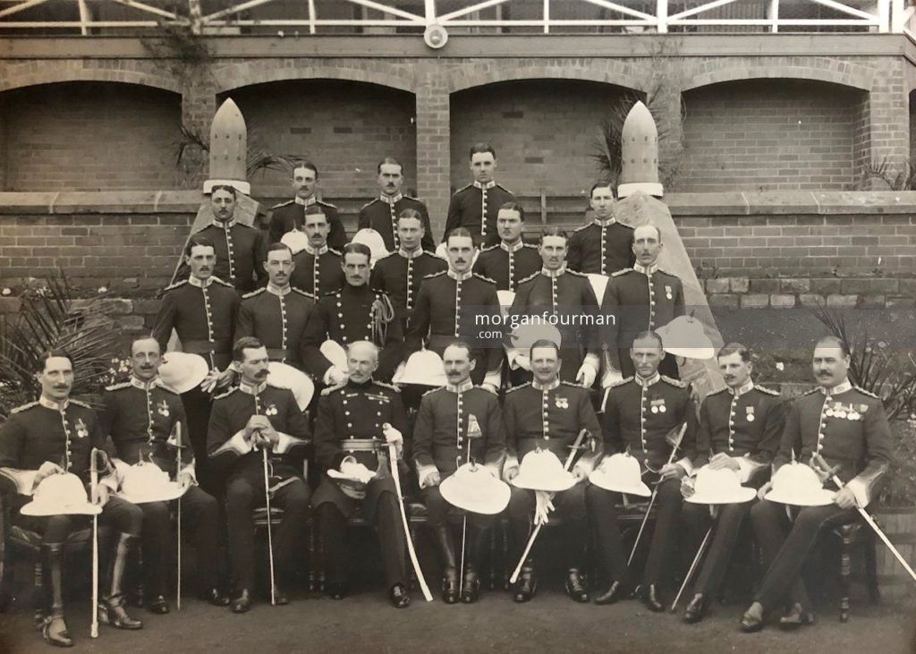 Officers of the 1st Battalion South Staffordshire Regiment, Pietermaritzburg, 1913/14. Wilmot Evans is in the row one from the back in the middle
