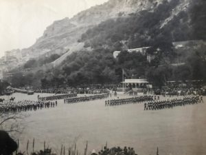 The 1st Battalion South Staffordshire Regiment marching past, Presentation of Colours, Alameda Parade, Gibraltar, 1912