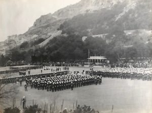 King George V presents the Colours to the 1st Battalion South Staffordshire Regiment, Alameda Parade, Gibraltar, 1912