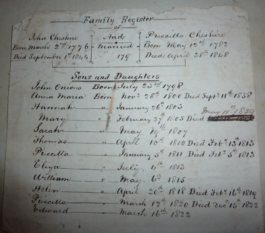 Family Register from the Cheshire Bible