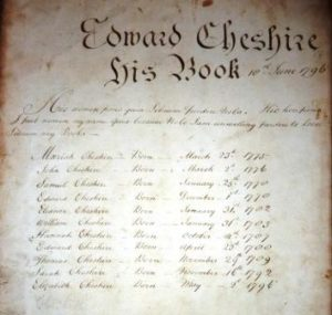 Inside front page of Cheshire Bible 1796