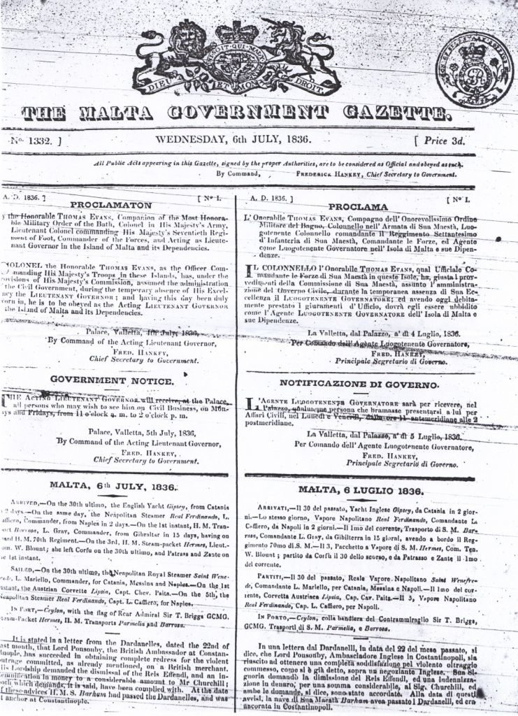 The Malta Government Gazette 1836 courtesy of the Royal Malta Library