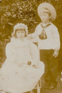 "Molly and Wilmot Evans, c. 1895. ""Taken by Mr Watson who lived at Mrs Jobson's house before she came"""