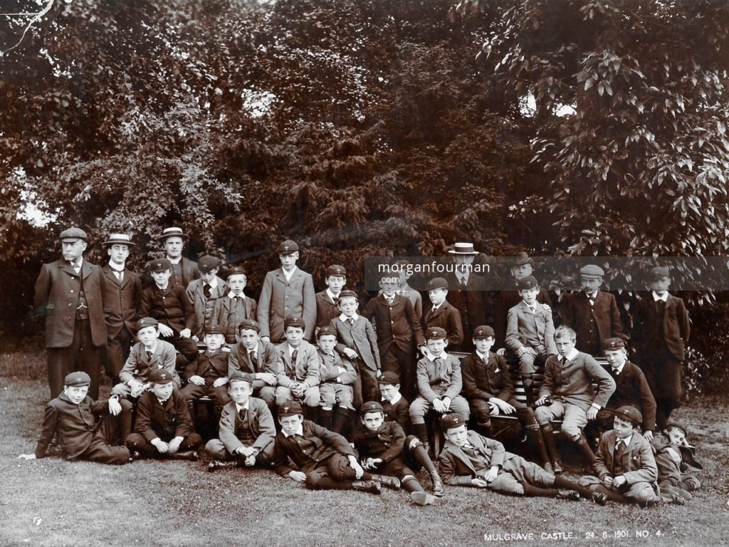 Mulgrave Castle, 24 Jun 1901. Noel sitting second left in the middle row