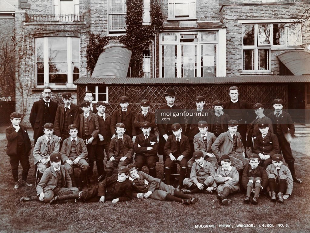 Mulgrave House, Windsor, 1 Apr 1901. Noel sitting fourth right in the middle row