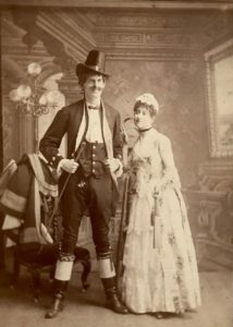 Theatricals, Buxton, mid 1880's. Nelly Marten with friend in costume