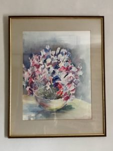 Pamela Morgan, Sweet Peas, watercolour