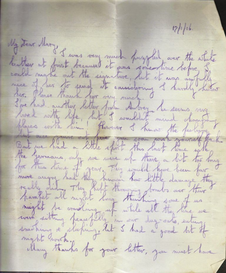 Letter from Noel Downing, Jan 1916. p.1