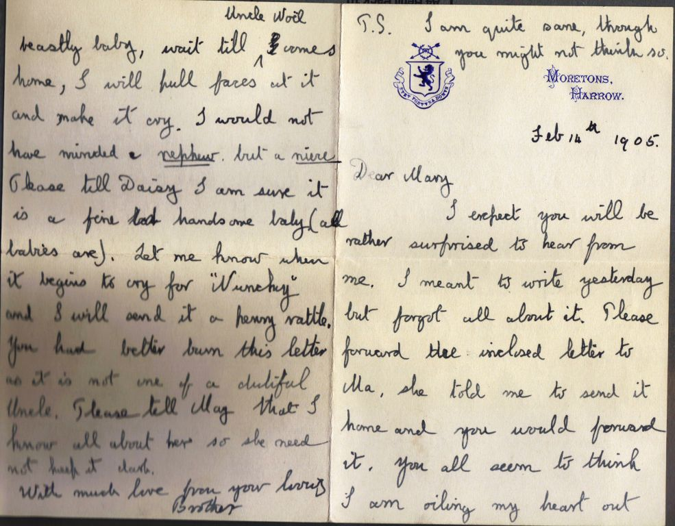 Letter from Noel Downing Aged 16
