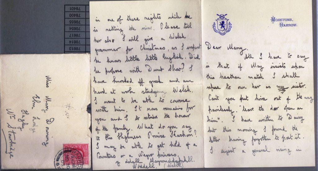 Letter from Noel Downing Aged 16, Harrow, 30 Nov 1905, p.1