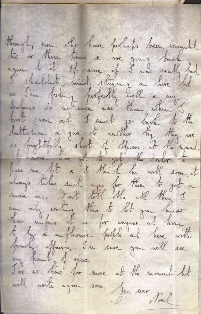 Letter from Noel Downing Feb 1917