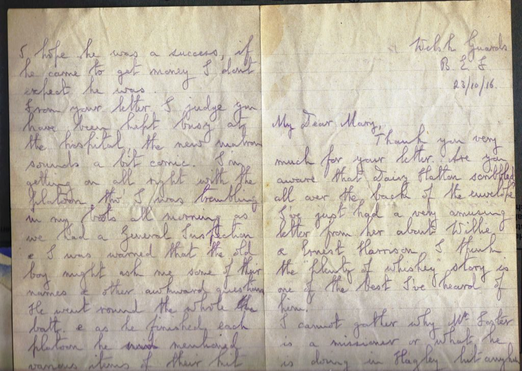 Letter from Noel Downing Oct 1916