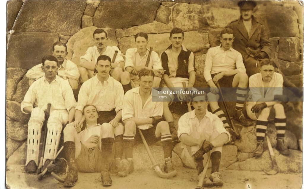 Postcard of Wilmot (centre) and fellow officers in the Hockey team in St Peters - addressed to Molly Evans in Le Havre