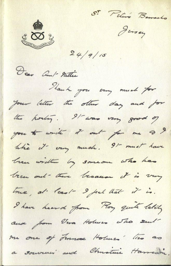 Letter Wilmot to Aunt Nettie - Sep 1915