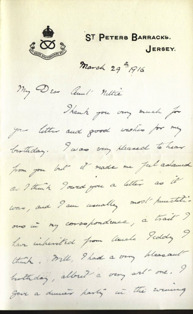 Letter from Wilmot to Aunt Nettie - Mar 1916