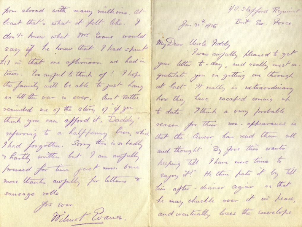 Letter from Wilmot to Uncle Teddy, Jan 1915, outer pages