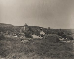 Noel, Mary and W.E. Downing (in the centre). Shooting at the Beacon, c. 1910