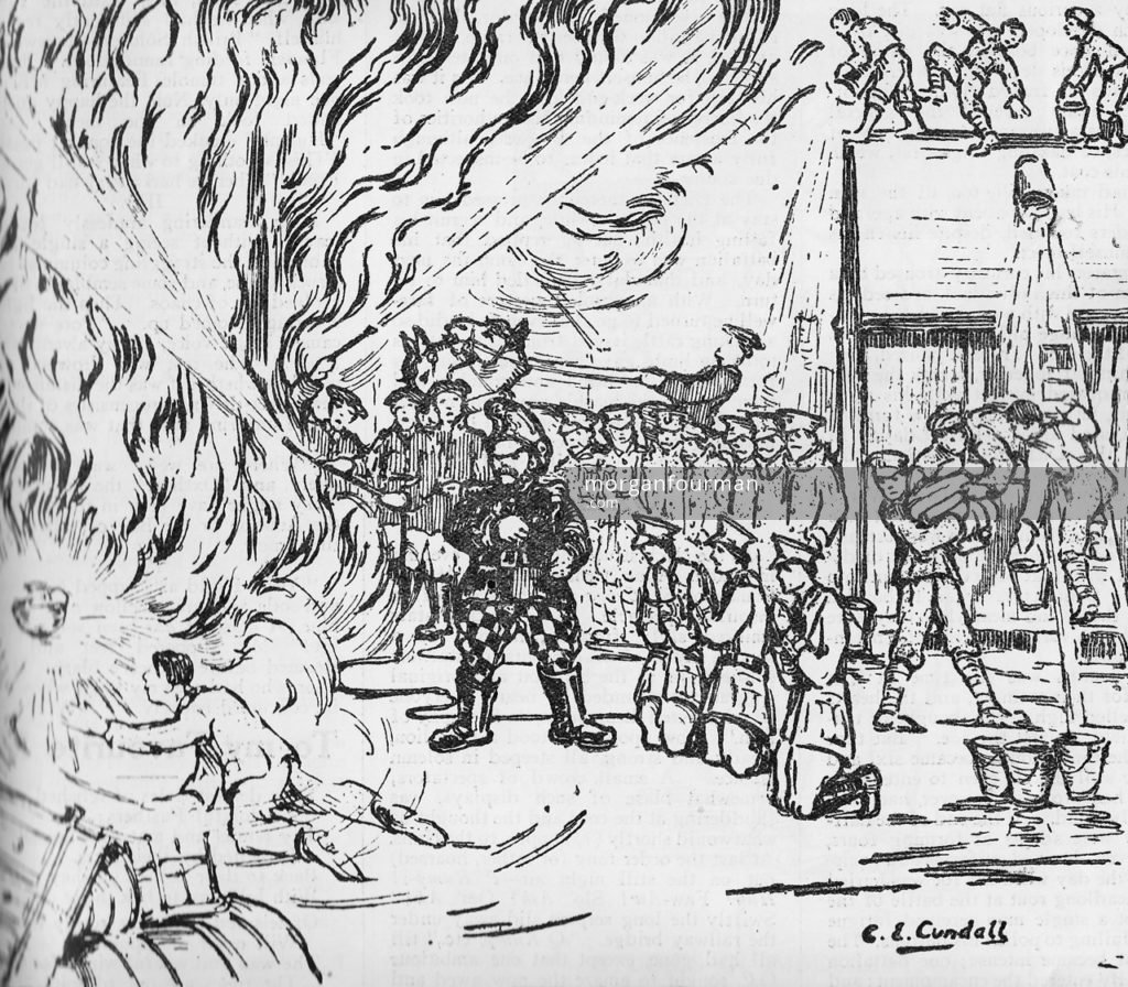 """The Great Fire"" by C.E. Cundall. The Pow-Wow, the Unofficial Journal of the U.P.S. Brigade, No. 15, 12 Mar 1915"