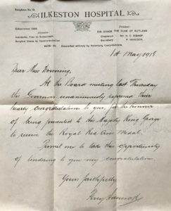 Letter of Congratulations from the Board of Ilkeston Hospital, 1 May 1918