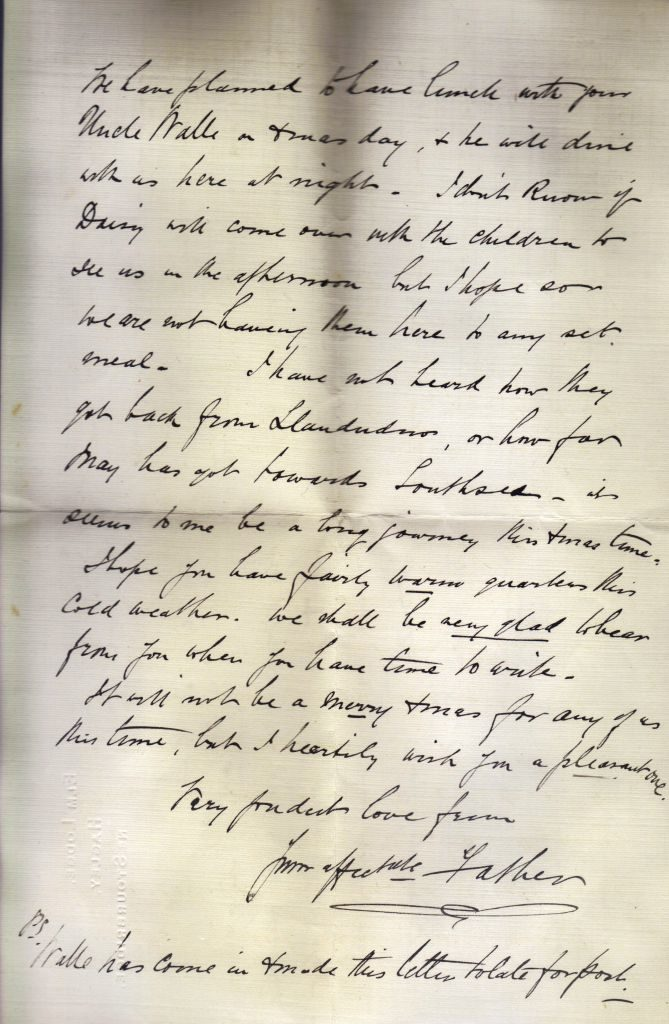 Letter from William Edmund Downing to his daughter Mary