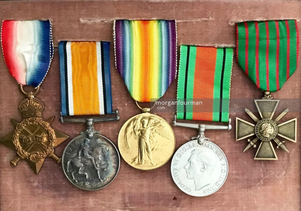 Molly Evans's medals (from left): the 1914-15 Star, the British War Medal, the Victory Medal (all three are British WW1 campaign medals), the Defence Medal (British WW2 campaign medal) and Croix de guerre 1914–1918 (French WW1 campaign medal)
