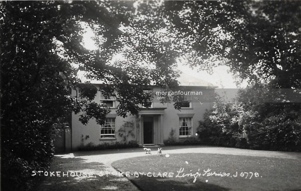 Stoke House, Stoke by Clare, c. 1925. Netty's dogs feature on this Ling's Series postcard