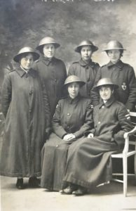 VAD nurses, the Queen Alexandra Hospital, FAU, Dunkirk, Jan 1918. Standing (from left) - Elizabeth Hardy, Elizabeth Pease, Rachel Wilson, Mary Pease. Sitting - Ethel Hay (left) and Molly Evans