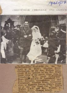 Marriage of Captain John S Townshend and Daisy Walker - April 1918