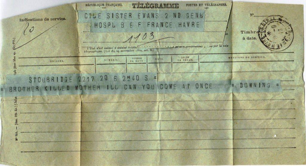 Telegram to Molly Evans, 6 Sep 1916
