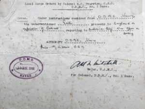 D.D.M.S. order to proceed to England on expiration of contract, No 2 General Hospital, Le Havre, 30 Nov 1916