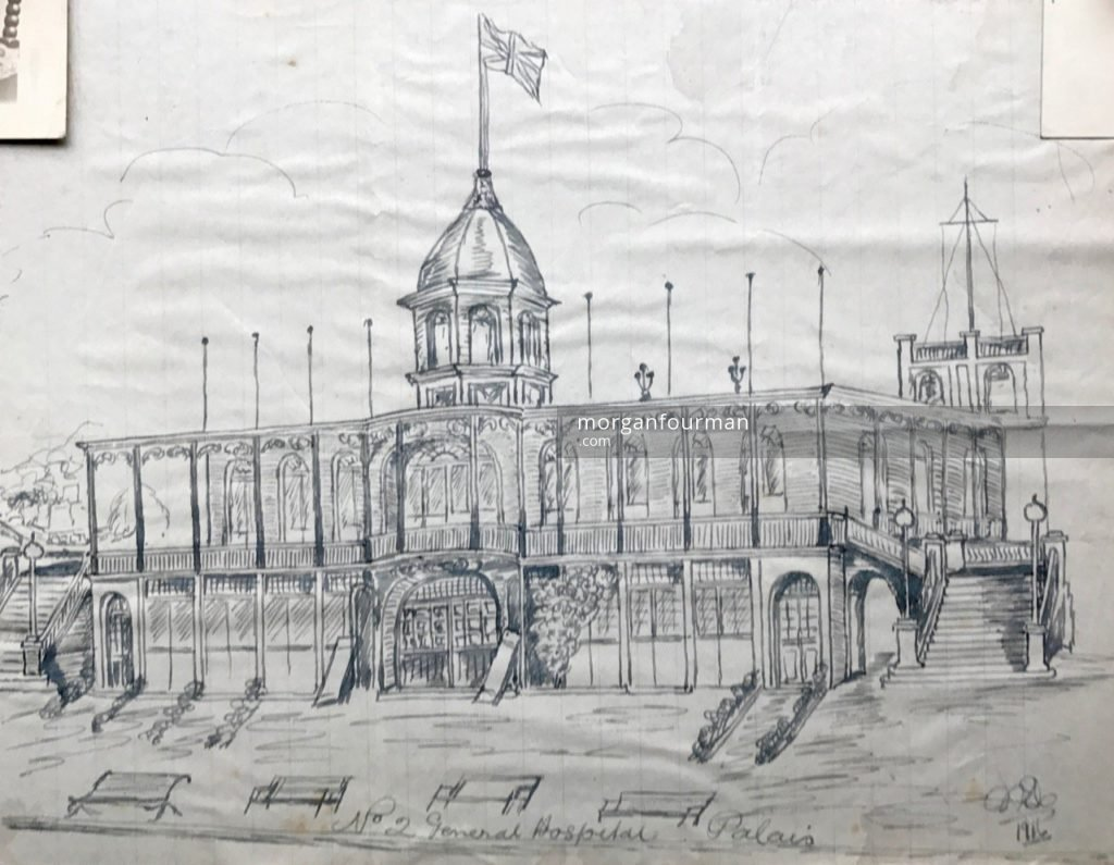 Drawing of Palais by Molly Evans, No 2 General Hospital, Le Havre, 1916