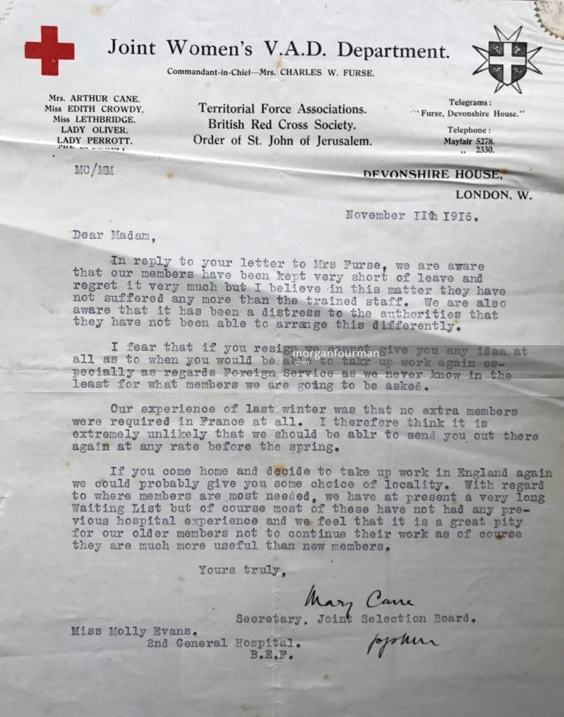 Official reply to Molly's resignation letter, No 2 General Hospital, Le Havre, 11 Nov 1916