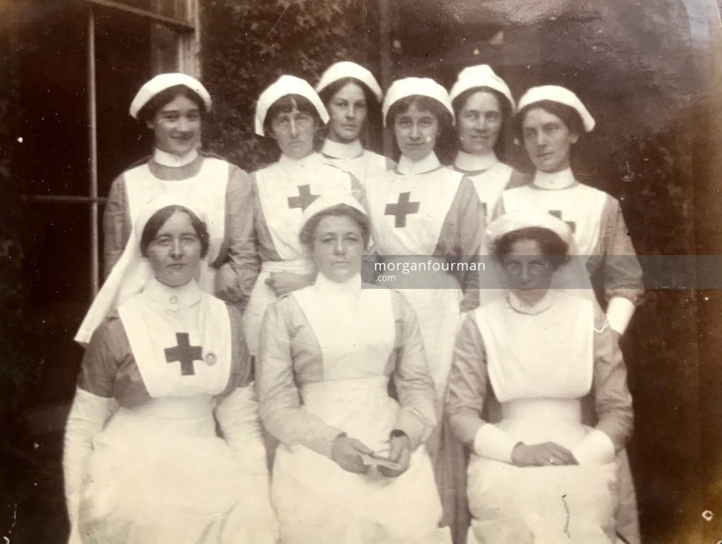 Nurses, Studley Court Hospital, Stourbridge, 1914. Molly standing third right