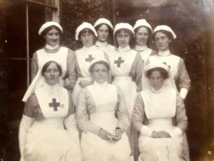 Nurses, Studley Court Hospital, Stourbridge, 1914. Molly standing third right