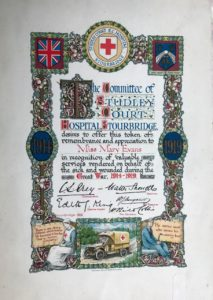 Token of remembrance to Miss Mary Evans, Studley Court Hospital, Stourbridge, 1919