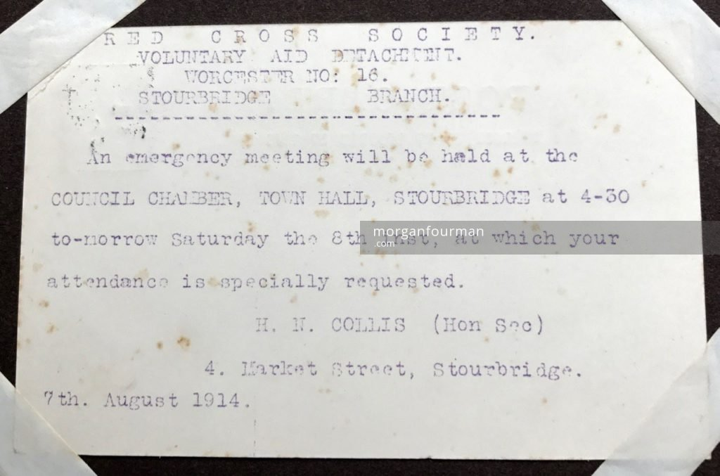Invitation to VAD Worcester 16 (Stourbridge) branch emergency meeting on 8 Aug 1914