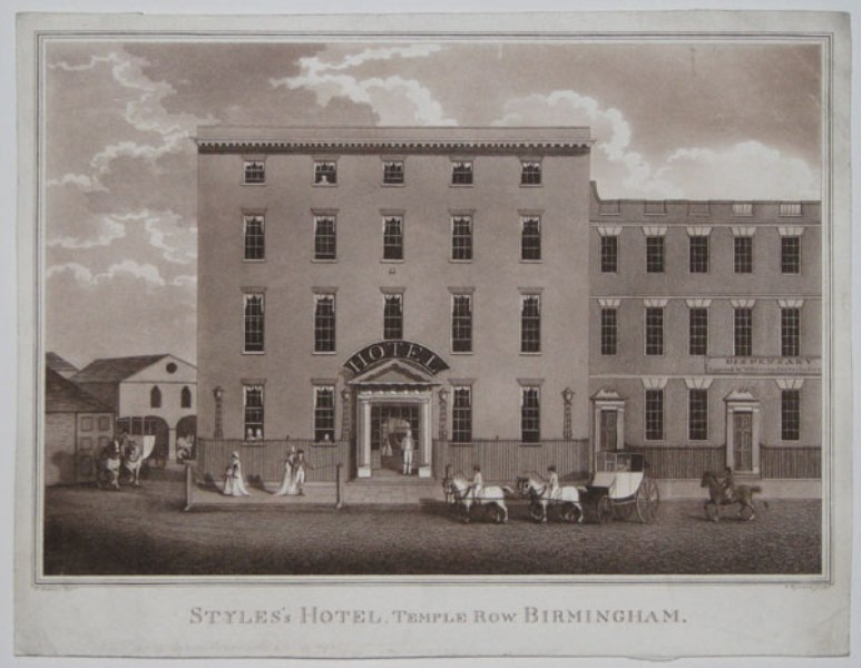Styles's Hotel, Temple Row, Birmingham, engraving from 1820