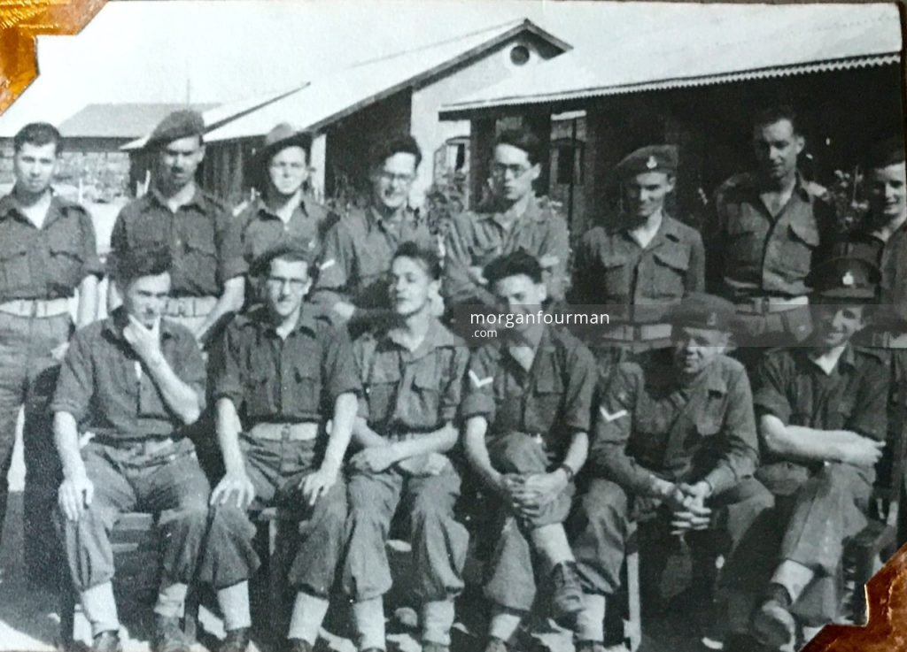 Fellow servicemen at ICTC Karachi, India, 1946. Standing - Longden, Brown, ?, Thomas, Davis, Chalmers, Wilde, Obrien. Front row - Mathews, Glendenning, Lees, Elliot, Funnel, Levine