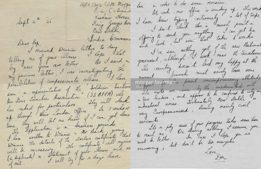 Donald Morgan's letter to his father, New Delhi, 4 Sep 1946